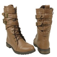 Womens Mid Calf Cross Strap Buckle Comfort Lace Up Combat Boots US Size 5.5-10 Light Brown