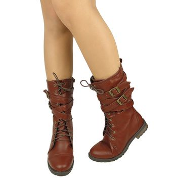 Women's Mid Calf Cross Strap Buckle Comfort Lace Up Combat Boots US Size 5.5-10 Brown