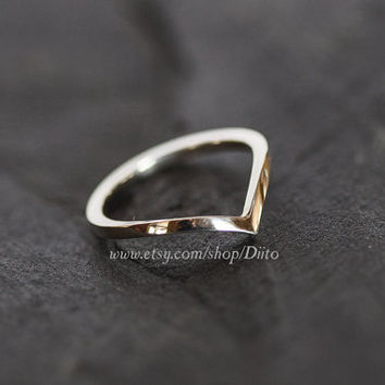 Size 7, Sterling Silver, Handmade Jewelry, Chevron Ring, Wishbone Ring, Statement Ring, Silver Jewelry, Ready To Ship!