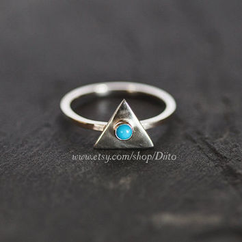 Size 6, Sterling Silver, Handmade Jewelry, Triangle Ring, Turquoise Stone Ring, Statement Ring, Geometric Ring, Ready To Ship!
