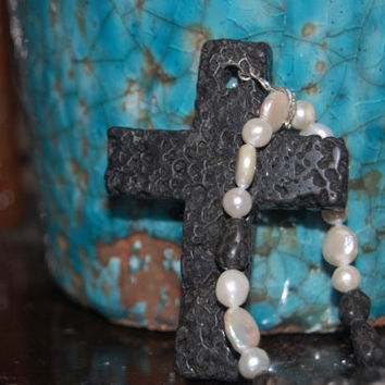 Black Lava Cross and Freshwater Pearl by authenticaboutique