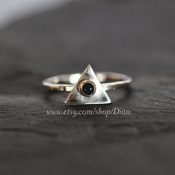 Size 6, Sterling Silver, Handmade Jewelry, Triangle Ring, Onyx Stone Ring, Statement Ring, Geometric Ring, Ready To Ship!