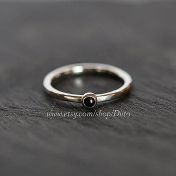 Size 5.5, Sterling Silver, Handmade Jewelry, Hammered Onyx Ring, Stacking Rings, Simple Rings, Stone Ring, Ready To Ship!
