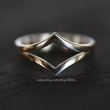 Size 7, Sterling Silver, Handmade Jewelry, Double Chevron Ring, Wishbone Ring, Statement Ring, Silver Jewelry, Ready To Ship!