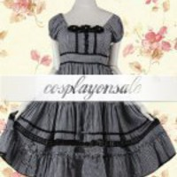 Short Sleeves Netting Lace Cotton Gothic Lolita Dress [T110518] - $82.00 : Cosplay, Cosplay Costumes, Lolita Dress, Sweet Lolita