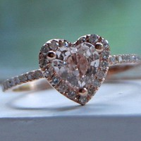 Heart peach champagne rose gold diamond ring by EidelPrecious