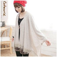 Graceful Cloak Style Hooded Lace Tassel Pin Top Coat Apricot-Wholesale Women Fashion From Icanfashion.com