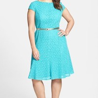 London Times Belted Cap Sleeve Lace Fit & Flare Dress