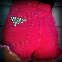 Vintage High Waisted Studded Cut Off Stone by TrueBlueDryGoods
