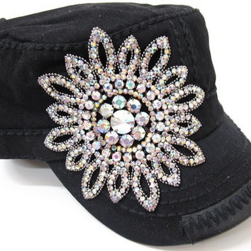 Olive & Pique Glass Beaded Flower Cadet in Black