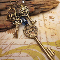 Lock and Keys charm necklace by trinketsforkeeps on Etsy