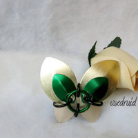 Scale Butterfly Barrette, Gold, Green and Silver Hand Made Aluminum Hair Accessory