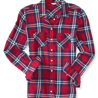 Long Sleeve Pocket Plaid Woven Shirt