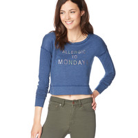Allergic To Mondays Cropped Sweatshirt
