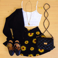 Sunflower Fields Skater Skirt - Yellow