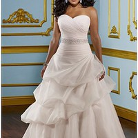 Glamorous Organza Satin & Satin A-line Sweetheart Neckline Plus Size Wedding Dress With Beads & Lace Appliques at dressilyme.com