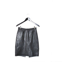 high waisted black leather pencil skirt small