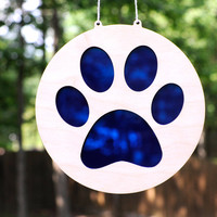 Animal Paw Print Suncatcher and Hanging Wall Art in Cat and Dog Paws