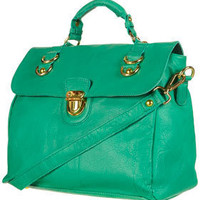 Large Leather Pushlock Satchel - Calypso  - Collections  - Topshop