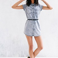 Glamorous Acid-Wash Button-Down Tunic