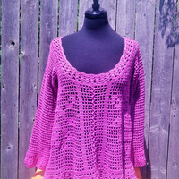 Crochet tunic, filet rose crochet sweater, Radiant Orchid womens top