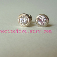 Art Deco Style Silver Screw Back Stud Earrings by SenoritaJoya