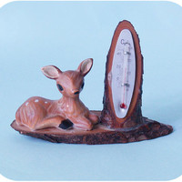Vintage bambi thermometer bambi clay figurine vintage by PoVintage