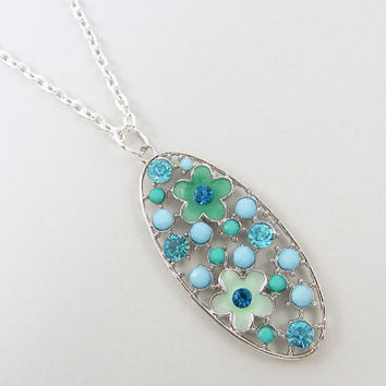 Teal Blue Green Silver Flower Pendant Necklace, Long Silver Necklace