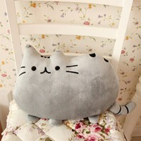 Icibgoods Children Adults Cute Cat Shape Pillow Best Home Office Companion Soft Cushion Bed Sofa Grey Pillow
