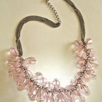Cluster Crystal Necklace Glass Pink-Lavender Cha Cha Vintage Tear Drop Sparkly