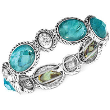 Jones New York Silver-Tone Oval Stone Stretch Bracelet