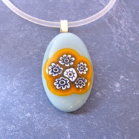 Flower Pendant, Fused Glass Necklace, Baby Blue, Orange, White - Meadow of Buttercups - 2797-1