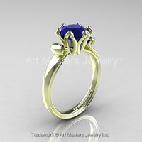 Modern Antique 14K Green Gold 1.5 Carat Royal Blue Sapphire Solitaire Engagement Ring AR127-14KGRGBS