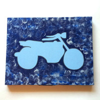 Motorcycle acrylic canvas painting for trendy room