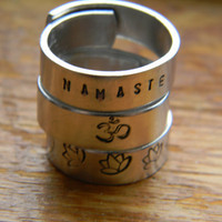 Namaste lotus Aum hand stamped aluminum THREE by LindaMunequita
