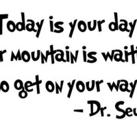 Dr Seuss Quote 'Today Is Your Day' Vinyl Wall Decal by InitialYou