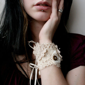 Cream and Brass Lace Wrist Cuff by Tinged on Etsy