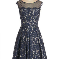 ModCloth Mid-length Cap Sleeves Fit & Flare Chandelier to Ear Dress
