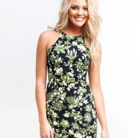 Floral Print Mini Dress- Green