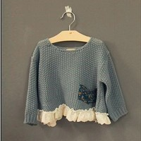 Vintage Inspired Girls Clothes Helen Blue sweater Top for Little Girls | Vindie Baby