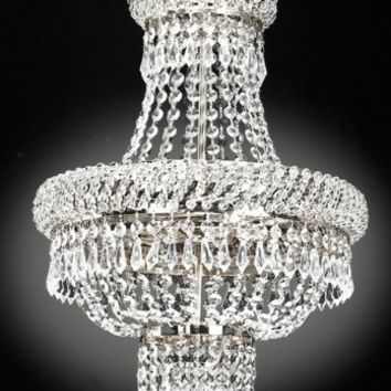 French Empire Crystal Chandelier Chandeliers Lighting , Silver , H22 X Wd15 , 3 Lights