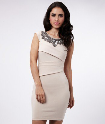 Lipsy Embellished Front Pleat Dress - Lipsy