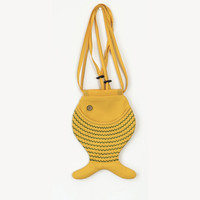 Fish Bag Purse Bright Yellow For Festivals Hipster by Marewo