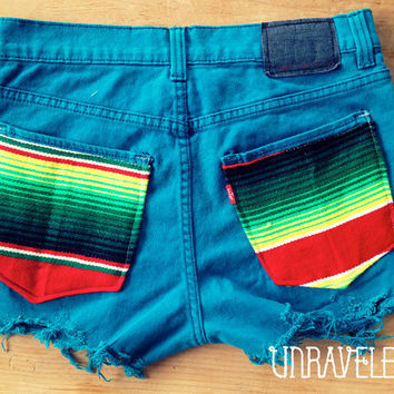 Levis Denim Shorts Ethnic Tribal Pockets Size by UnraveledClothing