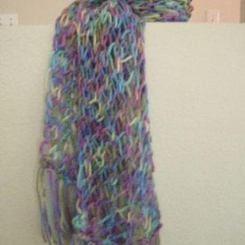 Hand Knitted Multi Color Lacy Scarf by FourSeasons on Zibbet