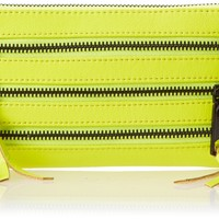 Rebecca Minkoff 3-zip Wallet,Acid Yellow,One Size