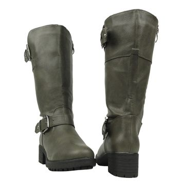 Womens Knee High Low Heel Buckles Riding Boots w/ Full Zipper Closure Gray Size 5-10