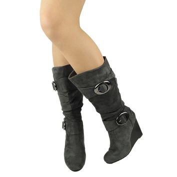 Platform Wedge Faux Suede Slouchy Knee High Buckle Boots Gray Womens Shoes
