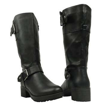 Low Heel Faux Leather Mid Calf Boots Black Womens Shoes