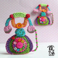 Crochet pattern Mr Graham Bell telephone brooch by VendulkaM